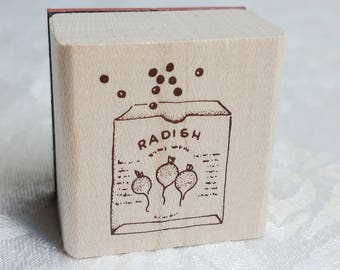 Radish Seeds Rubber Stamp, Garden Seed Rubber Stamp, Garden Seed Stamp, Seed Gift Garden Stamp Seed Packet Stamp, Garden Project Stamp Craft