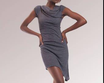Stretch dress, drape, shiny gray collar