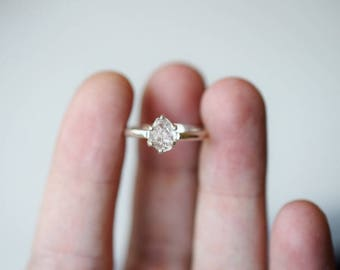 Raw Diamond Engagement Ring, Rough Diamond Ring, Uncut Diamond Ring, Anniversary Ring, Simple Sterling Silver Engagement Ring, Size 5 Avello