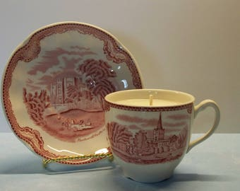 2 in 1 Gift Caramel Apple Johnson Bros Vintage Teacup and Saucer Soy Candle