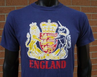 Vintage ENGLAND T Shirt Dieu Et Mon Droit God and My Right British Monarch Motto SCREEN STARS Large Tee