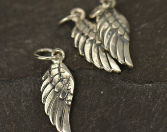 Wing Charm Sterling Silver Tiny Angel Wing Charm, Silver Wing Charm, 20x5mm