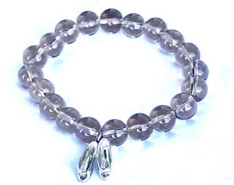 Vintage beaded bracelet, smoky quartz with sterling silver ballet slipper charm