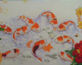 """Fancy Carp painting oil painting on canvas 24""""X48"""""""