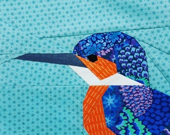 Kingfisher Paper Pieced Pattern- Woodland2 Quiltalong