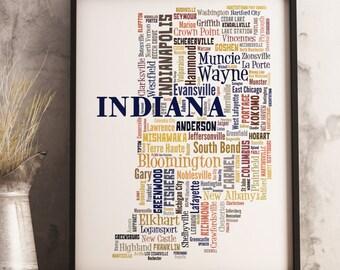 Indiana Map Art, Indiana Art Print, Indiana City Map, Indiana Typography Art, Indiana Poster Print, Indiana Word Cloud