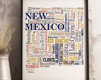 New Mexico Map Art, New Mexico Art Print, New Mexico City Map, New Mexico Typography Art, New Mexico Poster Print, New Mexico Word Cloud