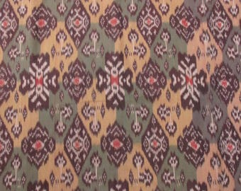 Hand Woven Olive Green, Mustard Yellow, Brown 100% Cotton Ikat By the Yard