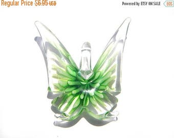 HALF PRICE Green Glass Butterfly Focal Bead - Statement Bead