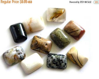 HALF PRICE Collection of 10 Rectangular Cabochons 18x13mm