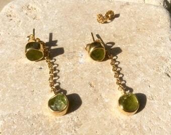 Peridot Front Back Gold Vermeil Earrings, Gemstone Drop Earrings, Two Way Peridot Earrings, Raw Peridot Drops, Raw Stone Gold Earrings