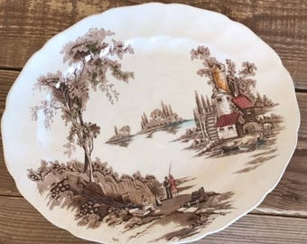 Vintage Johnson Brothers The Old Mill Brown Multicolor Oval Serving Platter