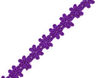 Lace purple guipure 14 mm wide ribbon