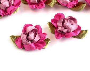 4 small pink two tone satin flowers 22 x 35 mm