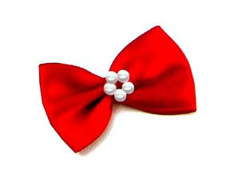 4 small bow in Red satin ribbon and pearls