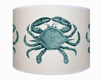 lamp shade/ ceiling light/ pendant light/ blue crab shade/ drum lampshade/ lighting/ nautical/ handmade/ home/ sea side