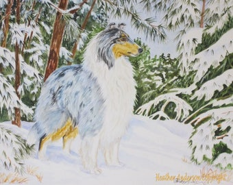 "8x10 giclee print, rough merle collie, ""Winter Patrol"", free shipping to Canada and the U.S.A., collie art, dog lover art, Heather Anderson"