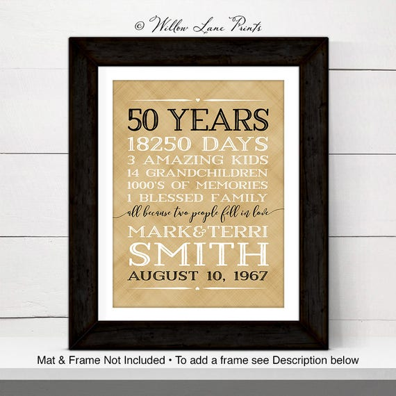 50th Anniversary Gift For Parents 50 Year Golden Anniversary Gift