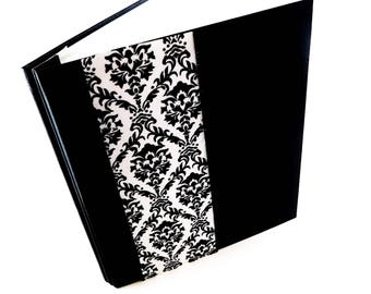 Wedding Memory Book Bridal shower Guest Book Picture Scrapbook 8.5x11 Page Protector Sleeves Photo Album Journal Black Damask Faux Leather