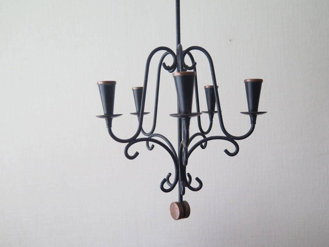Vintage black metal candle holder hanging home decor 5 arms vintage black metal candle holder hanging home decor 5 arms chandelier ceiling hanging candle holder arubaitofo Images