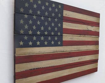 Rustic American Wooden Flag, 20 X 30 inches. Made from recycled fencing. Free Shipping B