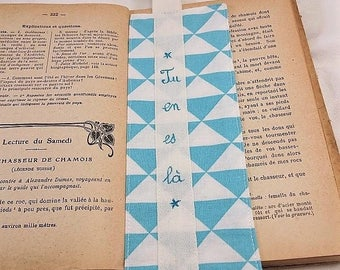 Fabric bookmarks geometric triangle blue, white