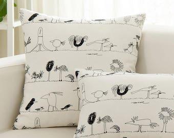 sketching bird Throw Pillow Cover 18x18s. Decorative Pillow Cushion Cover Throw Pillow. customized available