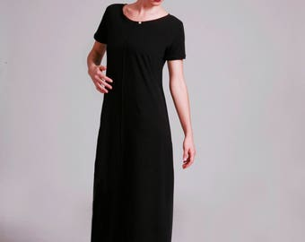 Black Midi Dress, Short Sleeve, Loose Fit, Cotton Jersey, Black Long Dress, Casual, Summer, Dress With Pockets, Midi Dress With Sleeves