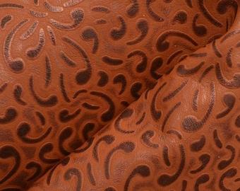 """Brown Cowgirl Ribbons Leather Cow Hide 12"""" x 12"""" Pre-cut 2 1/2-3 ounces DE-62976 (Sec. 5,Shelf 5,C)"""