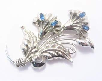 Vintage Bond Boyd Sterling Blue Rhinestone Flower Brooch