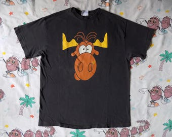 Vintage 90's Rocky and Bullwinkle Taco Bell Promo T shirt, size M/L 1993 fast food cartoon Junk Food