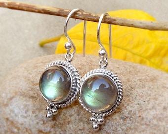Labradorite Earring Silver Jewelry Labradorite Dangle Earring Boho Jewelry Handmade twist earring Labradorite cabochon women earrings