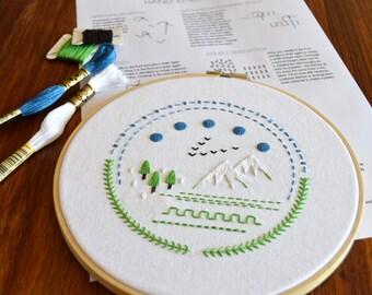 National Park Sampler hand embroidery pattern, embroidery sampler, modern embroidery, embroidered patches, PDF pattern, digital download