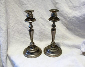 Pair of Candlesticks, Vintage Antique Silver Candle Holders