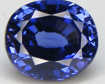 7.36 Carat Lab Blue Ceylon Sapphire Oval Cut 12 x 10 mm Lab Created Lab Corundum Loose Lab Sapphire Loose Gemstone