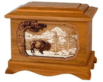 Mahogany Buffalo Ambassador Wood Cremation Urn