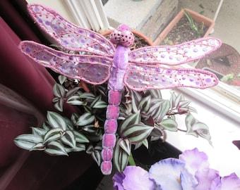 Dragonfly Art - Wall Hanging - Home Decor - Housewarming Gift - Bridesmaid Gift - Birthday Gift -  Lavender Velvet