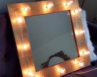 Gold Painted Wood Light Up Vanity Mirror Lights Beauty Makeup Room