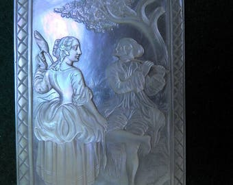 Victorian age mother of pearl artist carved courting scene plaque