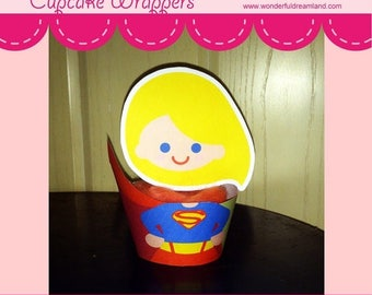 50% OFF Superhero Girl Cupcake Wrappers - PDF Instant Download Printable Digital File