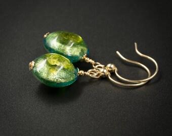 Venetian murano glass earrings, genuine Venetian Murano glass and gold filled peridot green, aqua and 24Kt gold glass earrings