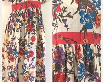 Vintage 60s Cream Floral V Neck Maxi Dress