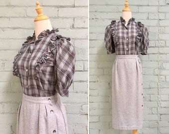 SALE 1980s navy plaid prairie blouse / 80s ruffled short sleeve blouse / 1980s puff sleeve skirt / 80s country blouse / size small