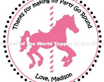 Set of 12 Carousel Horse Merry Go Round Personalized Birthday Party Thank you Favor Tags Or Stickers You Choose