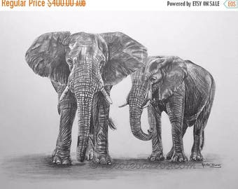 "20% off African Elephants, Original Pencil Drawing, Animal Art, Home Decor 15""x 17"" African Elephants Art,  Elephant Drawing, Wildlife art"