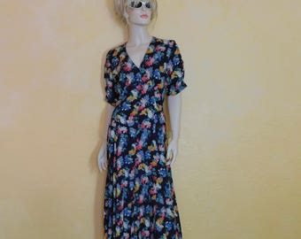 Vtg. New 90s Maxi Floral Cotton Rayon Sun Dress ~Starina made in India~Marked US Small/Medium ~Womens~See Dimensions~Indie-Earth Tripp