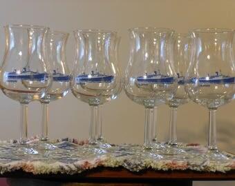 Eight SS Norway Souvenir Tulip Glasses