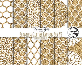 Seamless Glitter Pattern Set #2 in Gold Digital Paper Set - Personal & Commercial Use