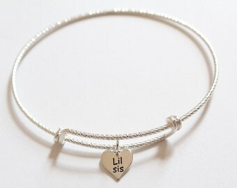 Sterling Silver Bracelet with Sterling Silver Lil Sis Charm, Lil Sis Charm Bracelet, Little Sister Bracelet, Little Sister Charm Bracelet