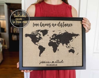 Travel Gift Christmas Gift for Mom From Son, Customized Map, Push Pin Travel Map, Long Distance Friend, Best Friend Gift, Long Distance Gift
